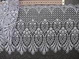 Gardinen Borte mit Muster 22cm hoch weiß Hochglanzgarn