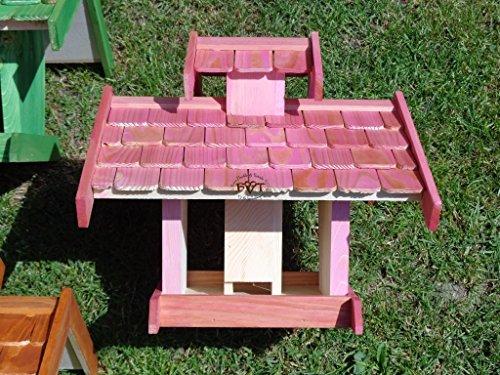 Vogelhaus-futterhaus, BEL-X-VOVIL4-pink002 Großes PREMIUM Vogelhaus WETTERFEST, QUALITÄTS-SCHREINERARBEIT-aus 100% Vollholz, Holz Futterhaus für Vögel, MIT FUTTERSCHACHT Futtervorrat, Vogelfutter-Station Farbe pink rosa rosarot süß, MIT TIEFEM WETTERSCHUTZ-DACH für trockenes Futter - 6