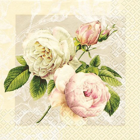 Cottage Creme (20 Servietten Cottage Rose / Blumen / Blumenmotiv 33x33cm)