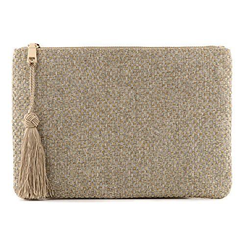 Otto Designer Damen Clutch Strick-Unterarmtasche mit Fransen Quaste - Kleiner Kreditkartenhalter und Münzfach - Ultra-schlanke, leichte Tasche - mit Reißverschluss (Quaste-abend-geldbeutel)
