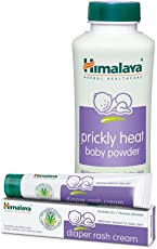 Himalaya Prickly Heat Powder, 200g with Diaper Rash Cream, 20g
