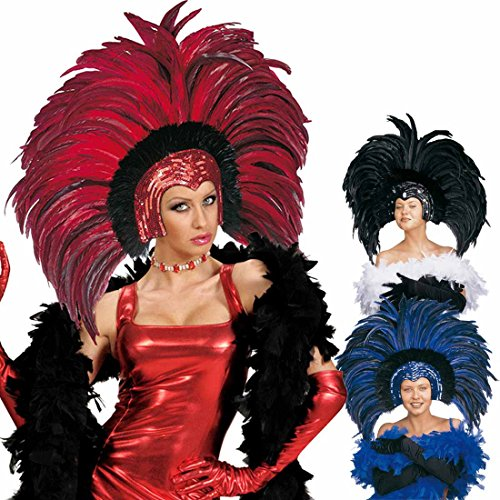 Amakando Brasilianischer Federkopfschmuck Showgirl Federschmuck rot Karibischer Kopfschmuck Samba Federkrone Rio Kopfbedeckung Feather Headdress Brasilien Kostüm ()