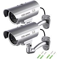 Maxesla - Finta telecamera di sicurezza con LED illuminanti, confezione da 2 pezzi