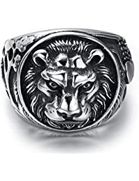 Mens Stainless Steel Ring, Biker, Silver, Black, Lion, KR2220