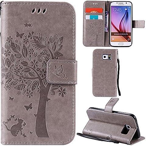 Etui Porte Carte Galaxy S6 - Ooboom® Samsung Galaxy S6 Coque Motif Arbre