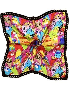 Bees Knees Fashion - Bufanda - Negro Rosa Gato Impreso Pequeña Bufanda Cuadrada De Seda Pura Fina