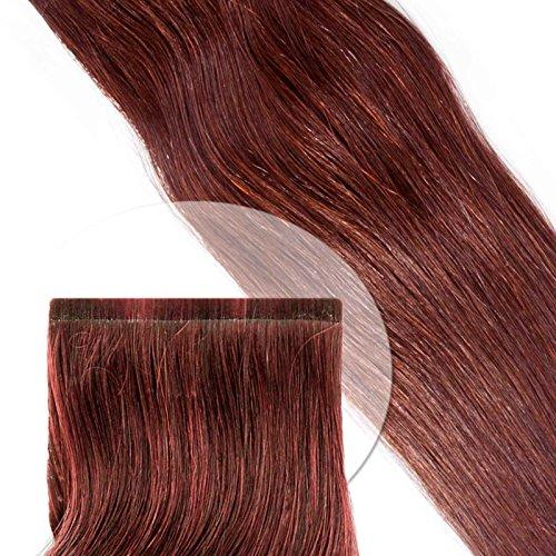 Tape Extension Strips-Haarverlängerung glatt: 45 cm/mittelrot-burgund (#35) 10er Pack (Tape-haar-extensions Burgund)