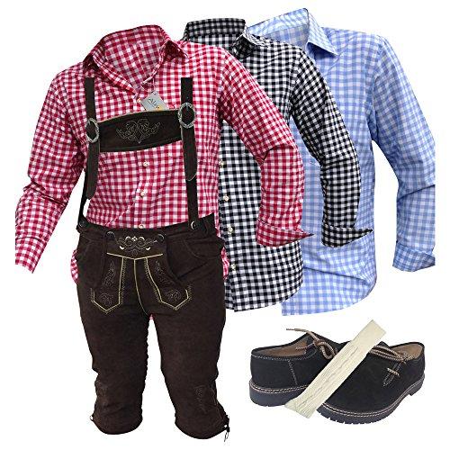Trachtenoutfit Trachtenhose-Anzug Lederhose Trachtenanzug Trachten Hose Hemd Schuh Socke Träger echtleder Dark Braun Herren