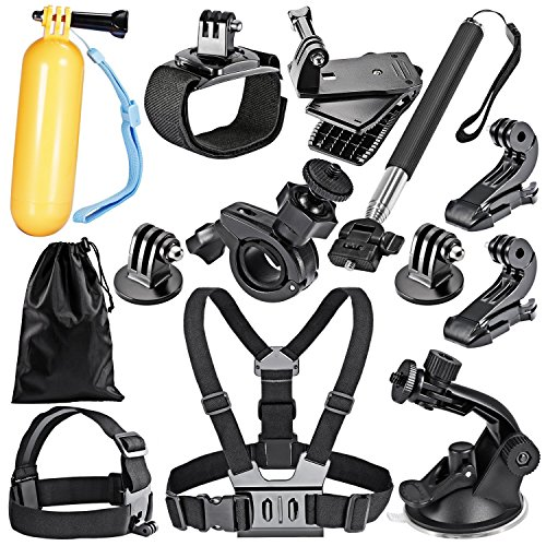 Robustrion 12 in 1 GoPro Hero 6/fusion/5/Session/4/3/2/HD/Hero &/SJCAM/SJ4000/SJ5000/SJ6000 Mounts Straps Accessory Kit