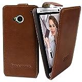 Bouletta HTC ONE M7 Hülle Echt Leder FlipCase Tasche Flip Case Handytasche - Handarbeit, Sacco Tan Braun
