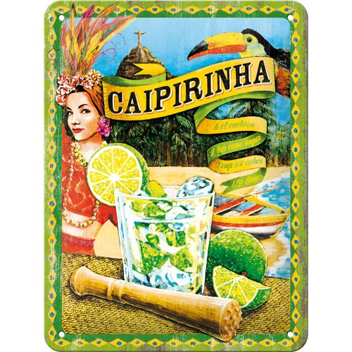 Produktbild bei Amazon - Nostalgic-Art 26145 Open Bar - Cocktail-Time - Caipirinha, Blechschild 15x20 cm