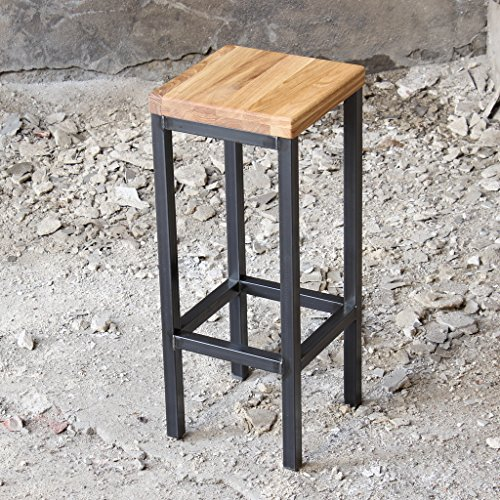 Ein Original-BestLoft® Barhocker im Industriedesign Stahl Holz Eiche massiv 78cm (Hell, 78cm)