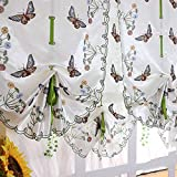 Pastoral Tulle Window Embroidered Sheer Curtain for Kitchen Living, 1 Panel