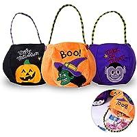 Speyang Halloween Süßigkeits Tasche, 3 Stück Halloween Smile Kürbis Tasche, Hexe Vampire Tragetaschen, Halloween Süßes…