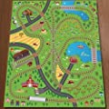 Giant Kids Childrens Railway Track Lines City Playmat Fun Town Trains Cars Play Village Farm Road Carpet Rug Toy Mat