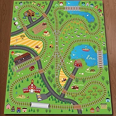 Giant Kids Childrens Railway Track Lines City Playmat Fun Town Trains Cars Play Village Farm Road Carpet Rug Toy Mat - cheap UK rug shop.