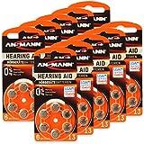 60 ANSMANN Hörgerätebatterien / 10x6er Packung Zink Luft Batterien mit 1,4V Typ 13 / Knopfzelle für Hörgeräte mit besonders langer Laufzeit