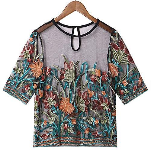 WDFSER Neue Frauen T-Shirt Stereoskopischen Stickerei T-Shirts Mesh Sehen Durch T Tops Weiblichen Kurzen T Shirt Plus Größe 5XL