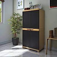 Nilkamal Freedom Mini Medium FMM Plastic Storage Cabinet with 2 Doors and 4 Shelves | Weather Brown & Biscuit Storage…