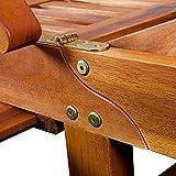Gartenliege aus Akazienholz klappbar, Rollen und verstellbar mit Tisch von Deuba - 6