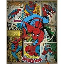 Pyramid International Spider-Man Retro Marvel Comics Mini Póster, plástico/vidrio, multicolor, 40x 50x 1,3cm)