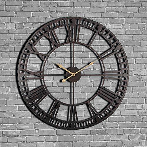 YJSMXYD Wanduhren,Uhren Vintage 40 cm Große Uhr Geschmiedete Metallindustrie Eisen Genaue Zeit Stille Moderne Art Gut Für Hauptküche Wohnzimmer Schlafzimmer - Glas Eisen Geschmiedet
