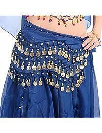 b26a043bcbf5d Eleery Mousseline de Soie Dance Ceinture Foulard Hip Jupe Ventre Hanche  Danse Brillant Pendent Monnaie Plus