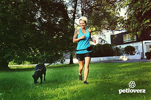 Hunde Joggingleine/Laufleine mit verstellbarem Hüftgurt | Leine zum handfreien Laufen/Fahrrad fahren | elastische Bungee Leine mit Reflektoren für Hunde bis 60kg | zusätzliche Tasche für Handy und Schlüssel etc. | Nylon | schwarz | super zum Laufen, Joggen, Wandern und Gassi gehen – PETLOVERZ® - 5