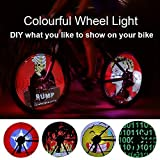 #2: YIER LED Bike Bicycles Wheel Signal Lights Waterproof Animation Cartoon DIY Colorful 21 Patterns Cycling Wheel Tire Spoke Flash Light Steel Wire rim Lamp Bike Accessory