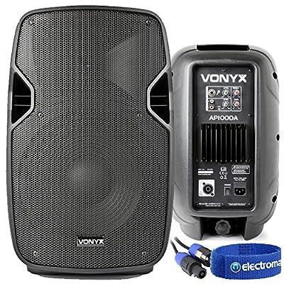 2x Vonyx 10 Inch Speakers Active Passive DJ Disco Party Setup System 800W Max