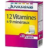 JUVAMINE - 12 Vitamines & 9 Minéraux - Aide à réduire la fatigue - 30 Comprimés à Avaler