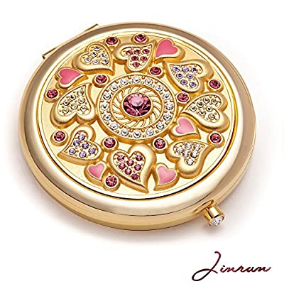 Jinvun Luxus Taschenspiegel – Einzigartiges Geschenk für Frauen | 24K Gold Kompaktspiegel – Rosa Make-Up Spiegel | Runder Klappspiegel – Vintage Schminkspiegel mit Schmuck Diamant