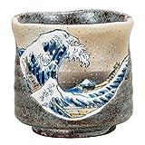 Kutani Keramik Japanischer Grüner Tee, Tee, Kaffee, Tasse Yunomi Große Größe Hokusai Welle von Kanagawa K4-653