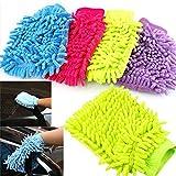 Sedeta coche guante de microfibra suave toalla de mano del Chenille Coral de lavado guante de la limpieza del coche guante de lavado para vehículos automóviles, Random guantes de la mano de limpieza d
