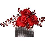 Lurrose Rose Blume Seite Kamm Braut Haar Kamm Perle Haarschmuck Hochzeit Kopf Tragen Zubehör für Frauen