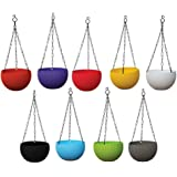 TrustBasket Weave Hanging Basket Mixed Colours (Set of 5)-Multicolour Hanging Basket,Hanging Flower Basket/Balcony,Indoor,Out