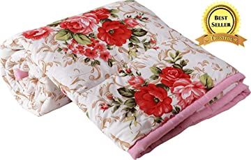 TRUSTFUL Cotton Gold Red Flowers Print Double Bed Reversible AC Blanket   Dohar   Quilt   Comforter   Duvet (Polycotton, Multicolor)
