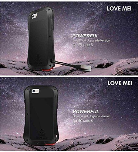 Love Mei Schutzhülle für iPhone 6(11,9cm) Wasserdicht Aluminium Metall Schutzhülle mit Gorilla Glas Display Schutz silber