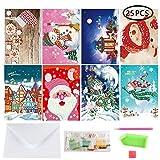 AOLVO 25in 1DIY Diamond Painting, Kit Creativo Diamond Painting Full Trapano Manuale 3D Cartoon Babbo Natale Cartolina di Auguri di Natale per Festa di Compleanno Anno Regalo (8Confezioni)