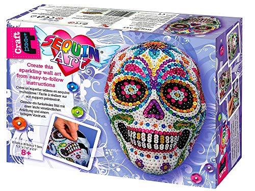 MAMMUT 8311708 - Sequin Art Teen Craft, 3D Paillettenfigur Sugar Skull, Totenkopf, Styropor-Figur, Acrylfarbe, Pinsel, Pailletten, Steckstifte, Anleitung, für Kinder ab 8 Jahre (Sugar Skull Art)