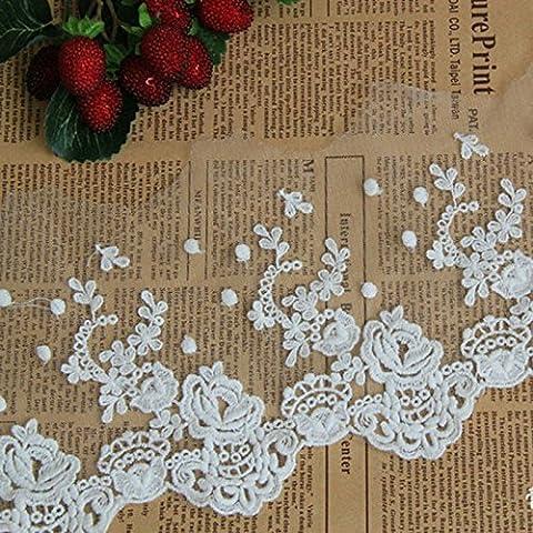 Elfenbeinfarben 5Yards Grace Floral bestickt Spitzenbesatz Band Kleid Rand Craft Spitze Home Vorhang Zubehör 71/5,1cm (Spitzenbesatz Craft)