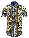 Pizoff Herren Hemdkragen mit kurz Ärmeln Fashion Hip-Hop Tops Hemden mit floral Blumen Luxus Palace Muster Blauer Leopard AL003-13-M