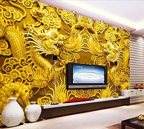 Fotomural 3D Papel tejido no tejido Papel Pintado Foto mural Wallpaper Golden Dragon Cloud Palace Palacio de la pared