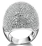 18k Vergoldet Ringe, Damen Versprechen Ringe mit Zirkon Pilz Form Gr.60(19.1) Weiß Gold Epinki