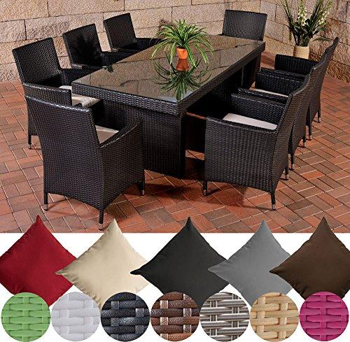 CLP Polyrattan Essgruppe AVIGNON BIG (Tisch 200 x 90 cm + 8 x Polyrattan Stuhl Julia + Sitzauflagen), bis zu 7 Rattan-Farben und 5 Bezugsfarben wählbar