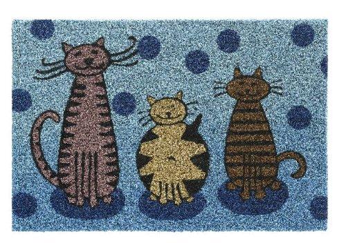 HMT 147413Fußmatte, Katzen-Motiv, Kokosfaser, 40°x°60°cm, Blau