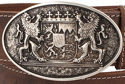 Trachtengürtel Original Trachtenkönig Unisex zur Lederhose Bayern Wappen Kürzbar (90 cm, Dunkelbraun (Vollrindleder))_TK04_01_90 - 3