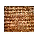 Herdabdeckplatten aus Glas m. Noppen von DekoGlas 2er-Set Herdabdeckung Schneidebrett Spritzschutz Aufdruck: Ziegelsteine Mauer
