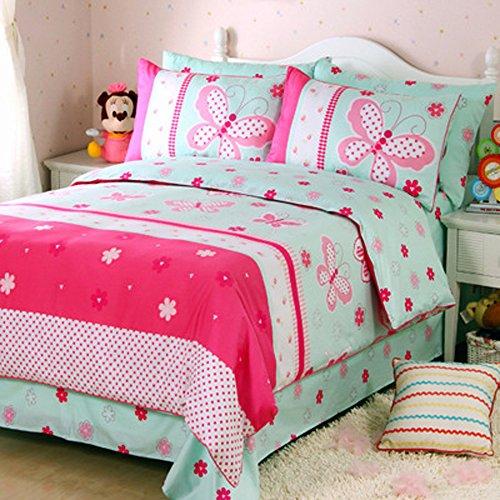 100% Baumwolle Bettbezug Set Pink Flower Bettwäsche-Set für Mädchen Little Mädchen Geschenkidee Twin Größe blau mit schmetterlingen