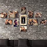 Unbekannt [Loves] pcs Schwarz Bilderrahmen Set Weinlese-Friseursalon-Foto-Wand-Friseursalon- / Friseur-Wand-Dekoration 11 Fotorahmen-Kombinations-Hintergrund-Wand (Farbe : J)